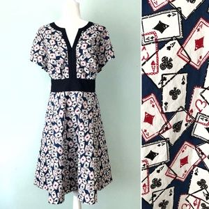 eShakti Fit N Flare Playing Cards Print Dress